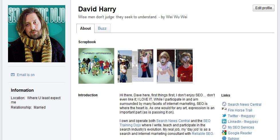 Dave Harry's Google Profile