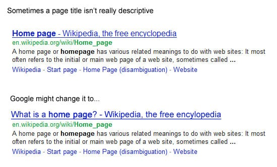 Google and page TITLE elements