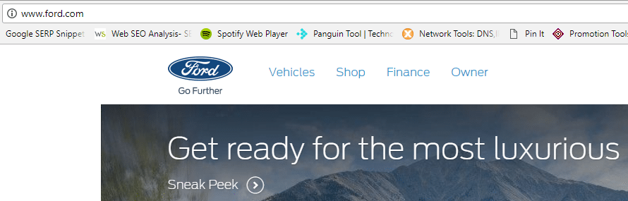Ford.com in browser - not secure