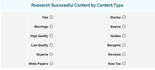 Content type panel