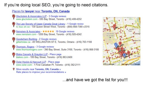 List of local citation sites