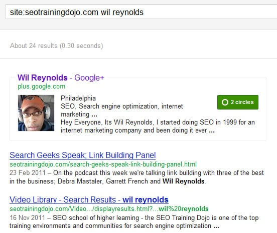Google profile pic in site search