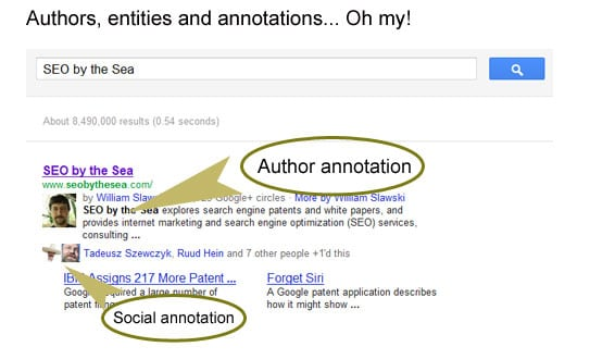 Author annotations in SERP