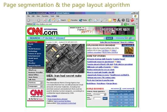 Page segmentation & Google page ayout algorithm