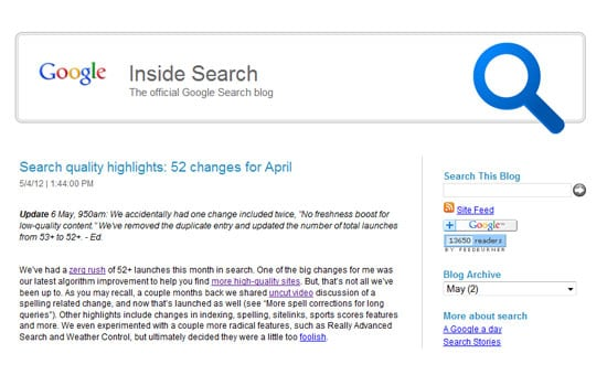 Google search quality updates - April 2012