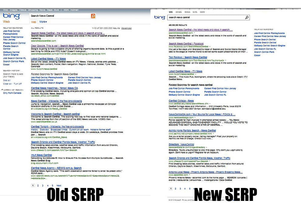Bing new serps