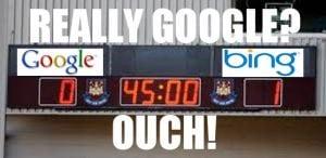bing ups google?