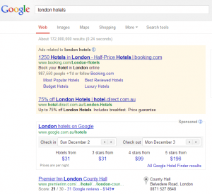 Google London Hotel Finder