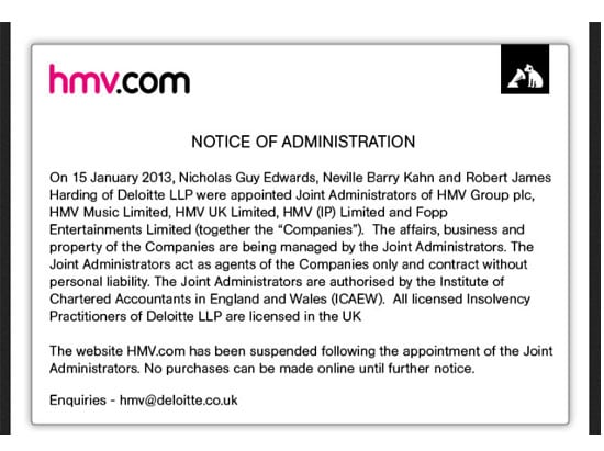 HMV website home page