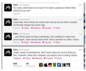 HMV rogue tweets