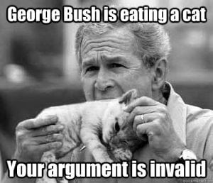 george bush eating a cat
