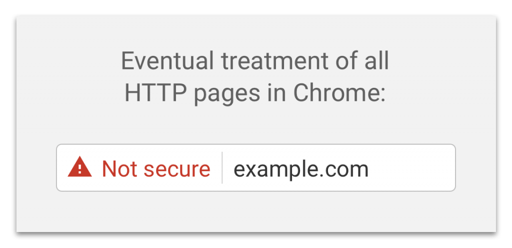 Not Secure with red triangle