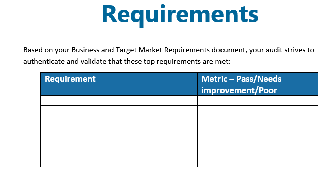 A form for checking requirements.
