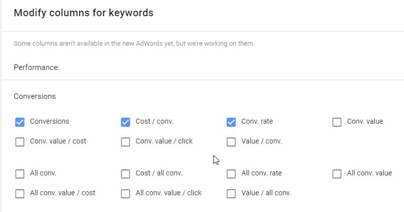 Modifying AdWords Columns