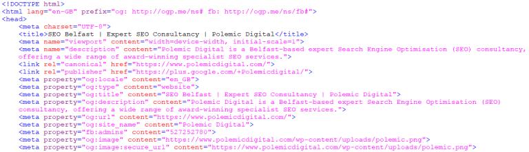 Unminified HTML Code