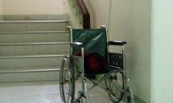 wheelchair at stair barrier