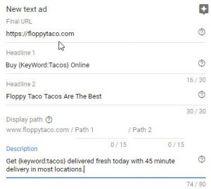 Screen of Ad created using Dynamic Keyword Insertion