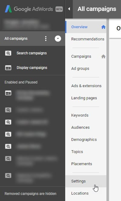 AdWords Ad Suggestions Opt Out Step 1