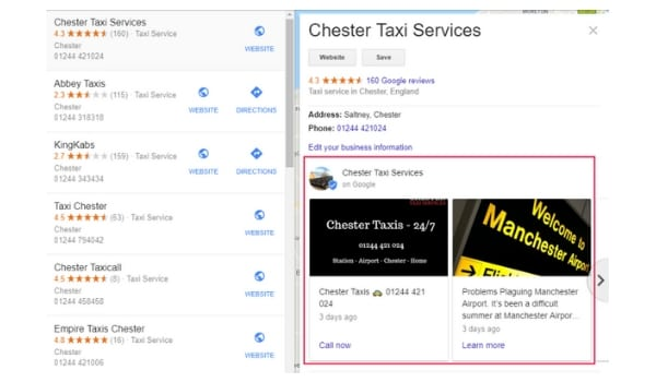 Google Posts appear in Local Results and also Map Results