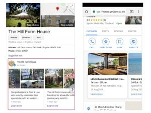 Google Posts in Businesses Knowledge Panel in Search Results