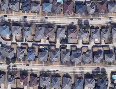 Overhead shot of tract homes