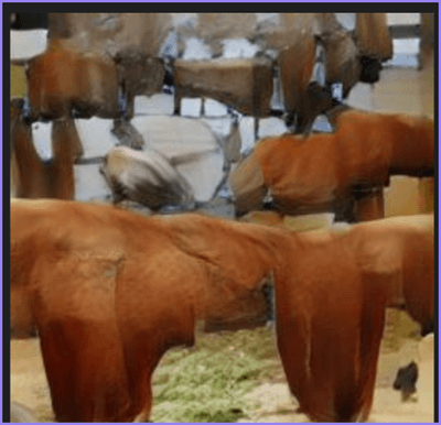 """A potato on a table surrounded by horses"""" compositional image"""